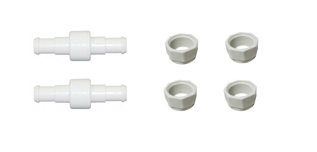 2 Pack Hose Swivel + 4 Pack Nuts For Pool Cleaners 180 280 380 D20 D-20 D15 D-15