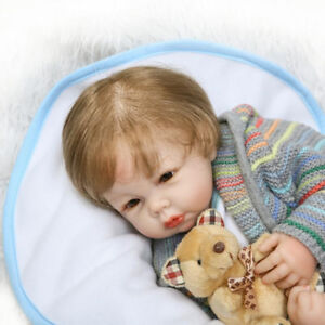 20-034-Newborn-Lifelike-Baby-Boy-Doll-with-bear-Soft-Vinyl-Silicone-Reborn-Handmade