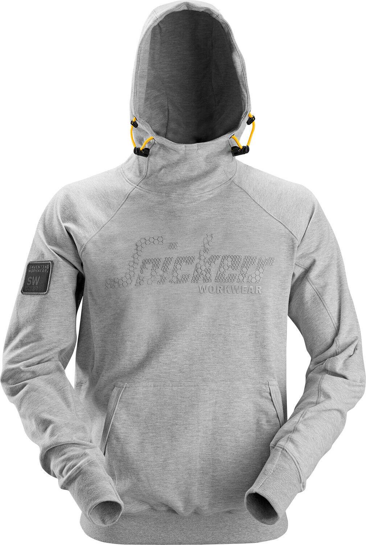 SNICKERS hoodie logo grigio con cappuccio Pullover Maglione Taglia L