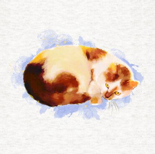 Acuarela ilustración//Cojín//tapicería panel impreso Craft Cat