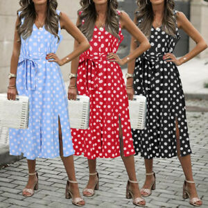 UK-Women-Summer-Holiday-Polka-Dot-Midi-Dress-Ladies-Spotted-Beach-Sundress-Sizes
