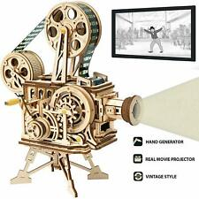 ROBOTIME 3D Puzzle DIY Wooden Vitascope Model Building Kits Film Projector Toy