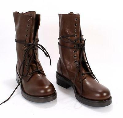 Mally 4600A Brown Leather Lace-up / Back Zip Biker Boots 41 / US 11