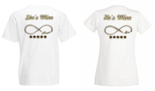 "Partner Pärchen Herren Damen T-Shirt SET /""HE/'S MINE /& SHE/'S MINE/"" viele Farben"