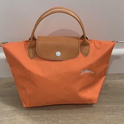 Auth Longchamp Le Pliage Club ORANGE SMALL Nylon Short Leather Handle Bag    eBay