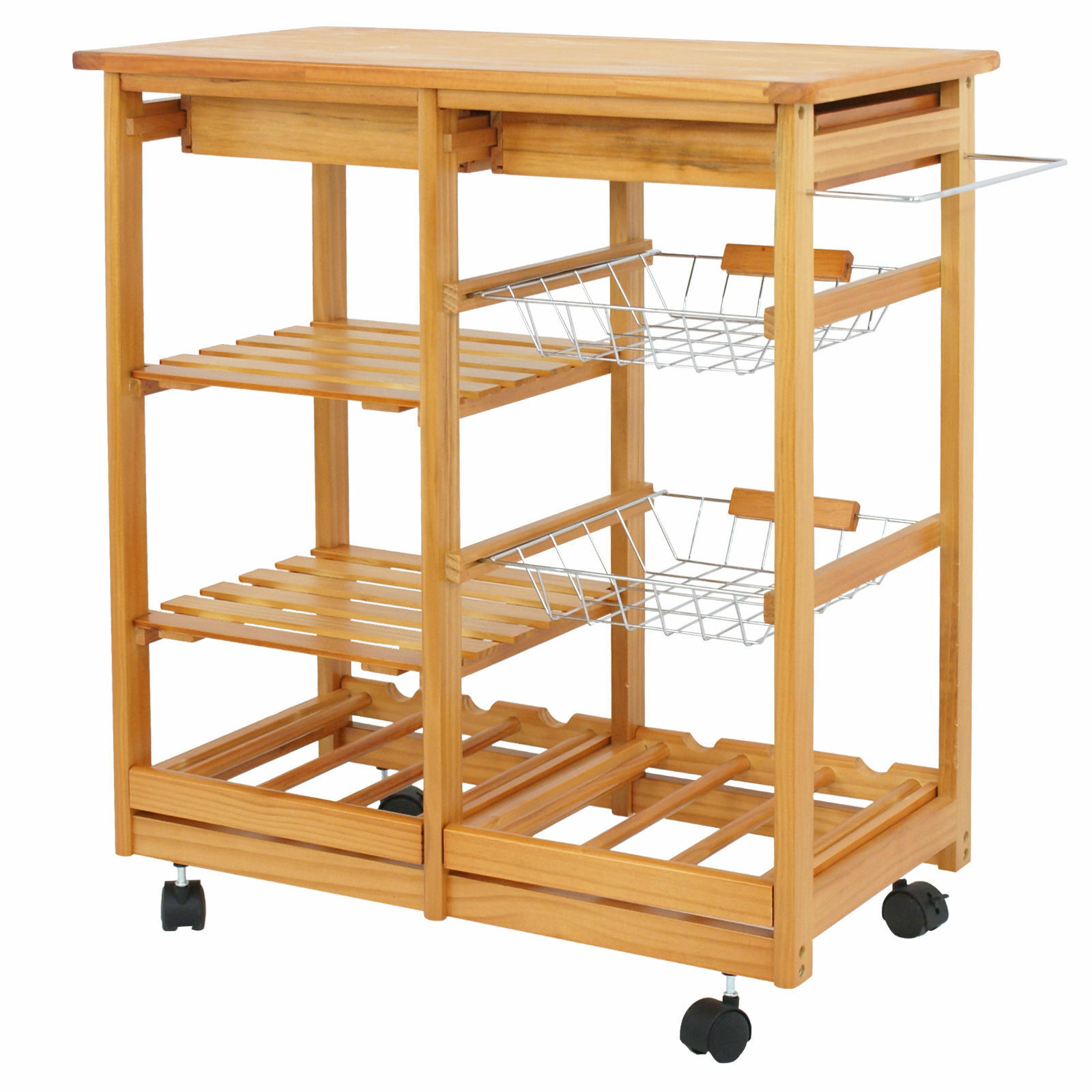 Small Kitchen Cart Rolling 2 Baskets Storage Utility Island Metal Drawer Rack For Sale Online Ebay