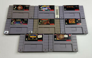 Super-Nintendo-SNES-Lot-Of-8-Games-Tested-Working-Show-Heavy-Wear-DK-NBA-WWF