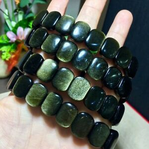 Top-Quality-Natural-Gold-Obsidain-Flash-Rectangle-Beads-Bracelet-14x12mm-AAAAA