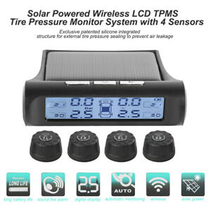Kfz-Wireless-Solar-LCD-Reifendruck-Kontrollsystem-TPMS-Kontroll-4-Sensoren-Auto