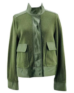 Who What Wear Women's Green Knit Faux Trim Long Sleeve Jacket Size Medium NEW