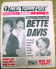 1989 New York Post newspaper announcing the DEATH of Movie Actress BETTE DAVIS