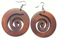 Boho Hippy Gypsy 70s Style Large Saddle Brown Disc Spiral Pattern Earrings
