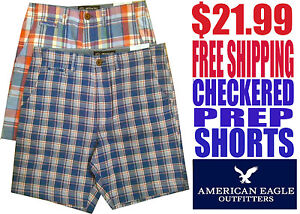 American-Eagle-for-Men-NWT-Checkered-Prep-Shorts-with-Free-Shipping