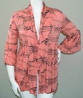Xtra Luv Tie Front Stretch Cardigan Pink Coral Metallic Grey Plus 1x 2x 3x
