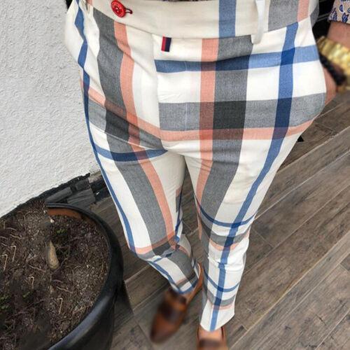 Men/'s Casual Mid-waist Plaid Printed Slim Fit Trousers Zipper Business Pants New