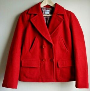 Lacoste-Red-Peacoat-Jacket-Women-039-s-Size-36-US-Size-4-Hip-Length-4-Button