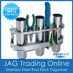STAINLESS STEEL TRIPLE 3-ROD RACK HOLDER ORGANISER - Boat/Fishing/L<wbr/>ure/Storage