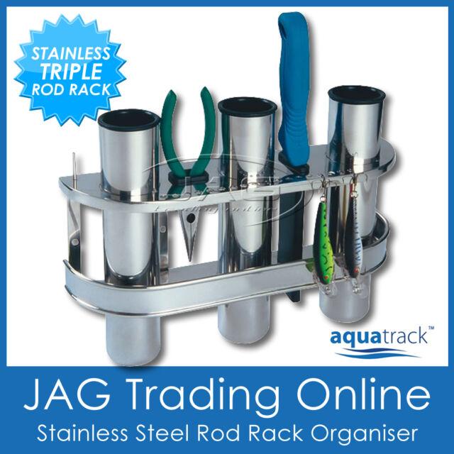 STAINLESS STEEL TRIPLE 3-ROD RACK HOLDER ORGANISER - Boat/Fishing/Lure/Storage