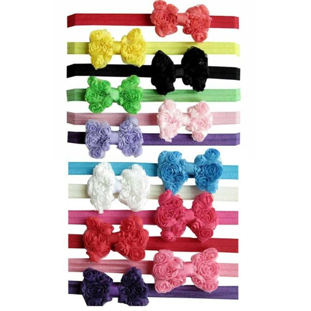 6/7/9/10/12/13/14pcs Girl Baby Hair Bow Flower Clip + Stretch Headband Hair Band