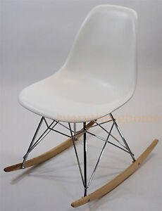Astounding Details About White Eiffel Mid Century Modern Rocker Side Rocking Chair Steel Legs Wood Base Bralicious Painted Fabric Chair Ideas Braliciousco