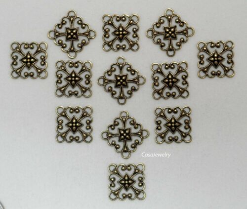 X1832 ANTIQUED GOLD SQ OPEN FILIGREE 4 RING CONNECTOR 48 Pc Lot QTY DISC