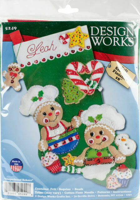 Design Works Gingerbread Bakers Christmas Cookies Holiday Felt Stocking Kit 5249