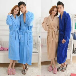 53c2f76077 Loose Women Men Long Sleepwear Robes Shawl Collar Bathrobe Spa Coral ...
