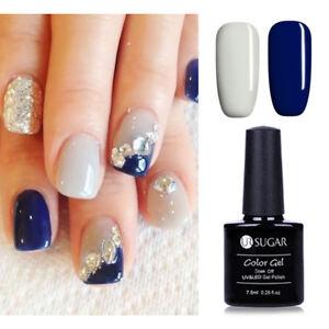 shiny gray blue nail art gel polish uv lamp soak off gel