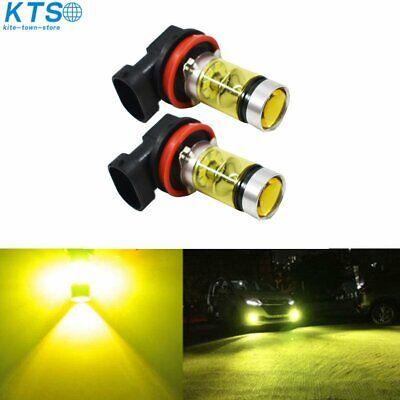 2x 100W H11 H8 H9 3000K Yellow High Power LED Fog Lights Driving Bulb DRL NJ