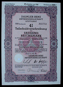 German Car Manufacturer Daimler Benz 4% 1000 Reichsmark Bond Stuttgart 1942 - Deutschland, Deutschland - German Car Manufacturer Daimler Benz 4% 1000 Reichsmark Bond Stuttgart 1942 - Deutschland, Deutschland