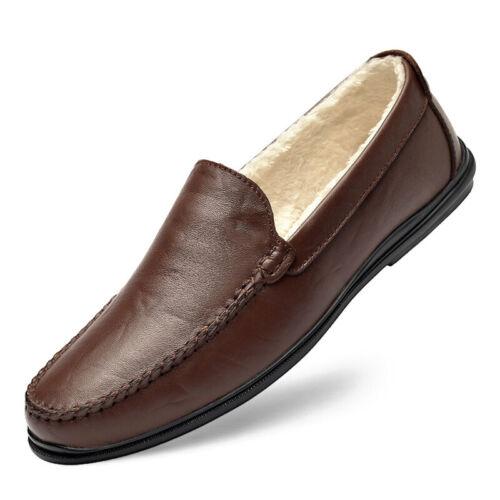 Herren Halbschuhe Bootschuhe Lammwolle Gefüttert Loafer Slipper 46 Vater Schuhe