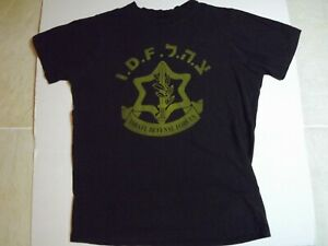 Authentic-Vintage-Isreal-Defense-Forces-Black-T-shirt-Hebrew-IDF