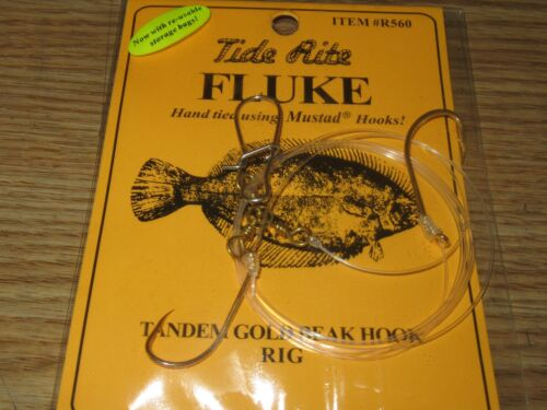 24 Fluke Rigs Flatfish TIDE RITE R560 Flet Saltwater Rig Pêche Mustad