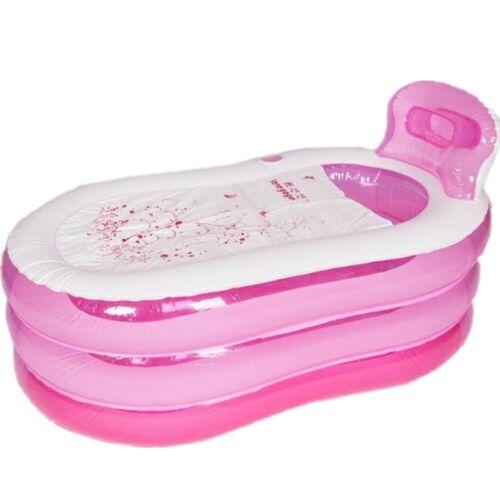 PINK Portable Adult SPA Warm Bathtub Inflatable Bath Tub PVC Folding Bathtub