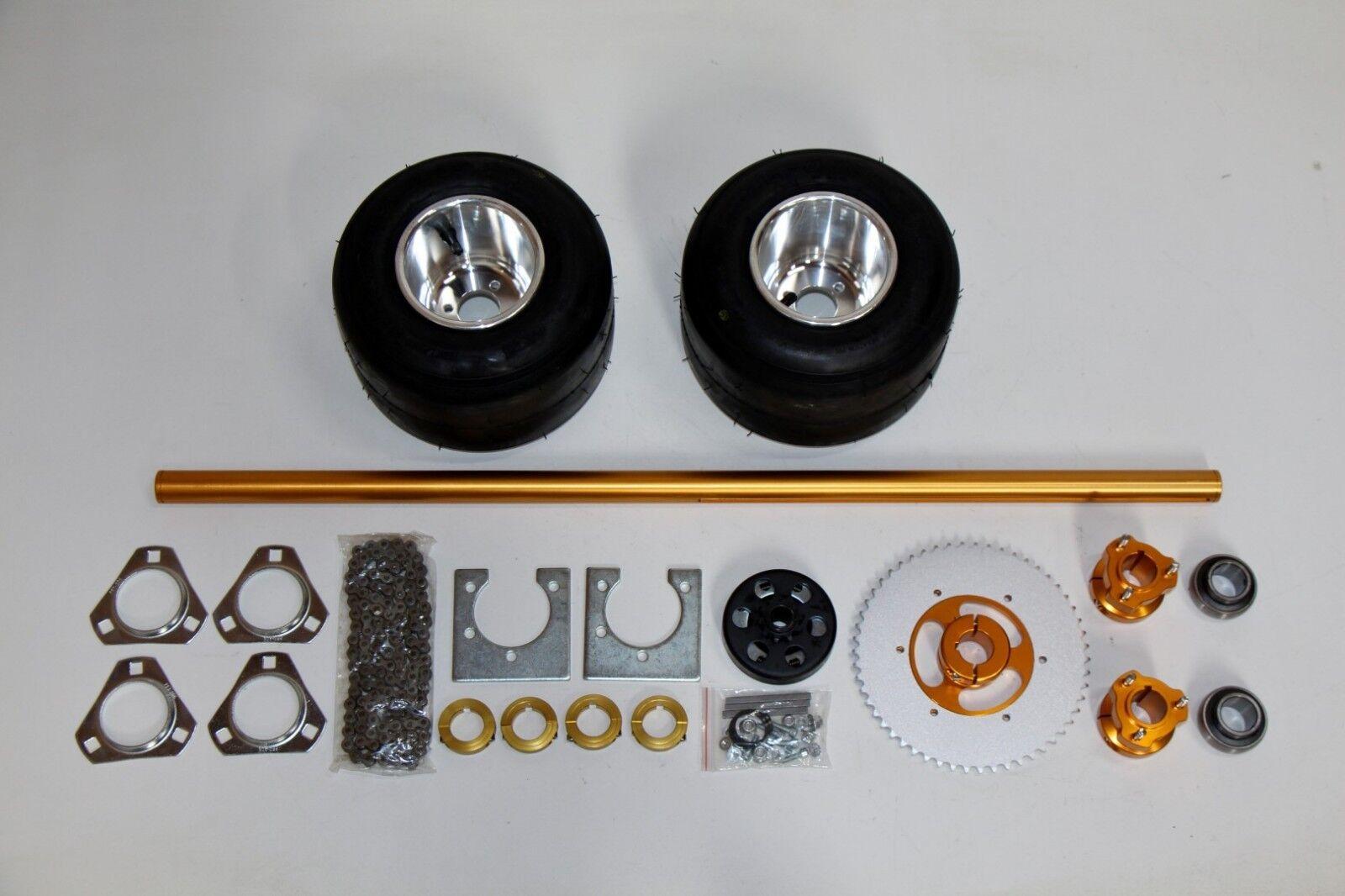Drift Trike bike kit 40  aluminum axle, mounted tires, bearings, chain, hubs