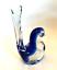 thumbnail 1 - Rubelli V.A. Murano Italy Art Glass Blue Bird Original Label 6 inches Tall