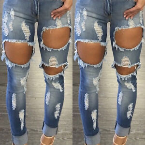 Women-High-Waist-Ripped-Distressed-Skinny-Slim-Frayed-Denim-Pants-Jeans-Trousers