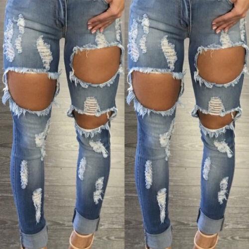 Damen Jeans Hohe Taille Hose Zerrissen Denim Skinny Röhre Röhrenjean Ripped Jean