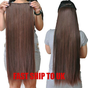 200g-So-Thick-Heavy-Long-One-Piece-Full-Head-5-Clip-in-Extensions-Remy-Hair-New