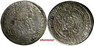 Austria-Leopold-I-Silver-1694-15-Kreuzer-VIENNA-034-Shifted-Dyes-034-KM-1302