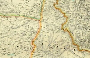 1895 ANTIQUE MAP UNITED STATES NORTH WEST MONTANA IDAHO OREGON NEVADA UTAH IDAHO