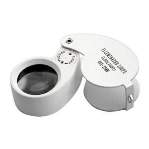 40-X-25mm-Vergroesserungsglas-Linse-Vergroesserungstool-Lupe-mit-LED-fuer-Juweli