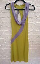 CELINE Paris France Green & Purple Summer Dress Size 38 UK 10 Low Neck Open Back
