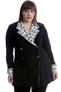 New Womens Plus Size Blazer Ladies Coat Formal Tartan Check Lining Jacket Office
