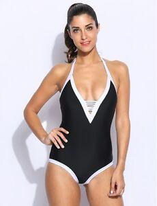 rivenditore all'ingrosso 7b9a7 87403 Dettagli su moda mare costume intero monokini donna nero bianco scollato  sexy 5200