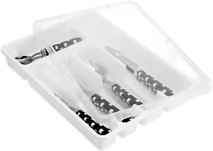 Flatware Plastic Tray With Lid,Kitchen Cutlery And Utensil Drawer Organiser Whit