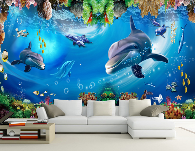 3D Dolphins Seabed 753 Wall Paper Murals Wall Print Wall Wallpaper Mural AU Kyra