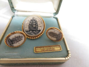 Vintage-12K-GF-Van-Dell-Sail-Ship-Earrings-amp-Pin-or-Pendant-with-Box