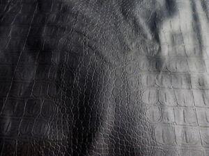 Lambskin Hide leather skin Embossed Black Croc Gator Black 1.5 oz 0.6 mm 8 sq.ft