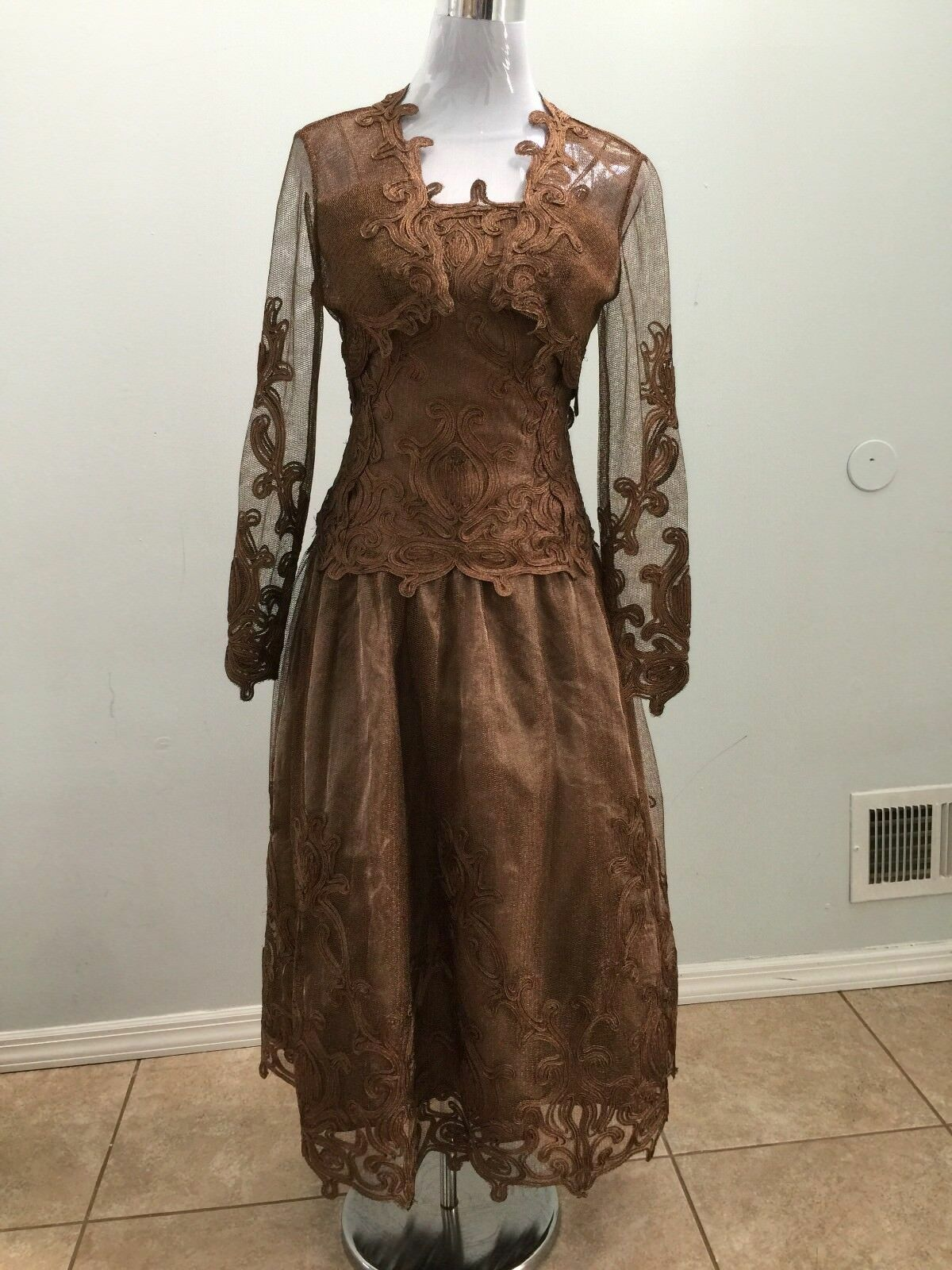 VINTAGE VICTORIAN HAND MADE SHIMMER METALLIC BROWN LACE BOLERO DRESS GOWN XS